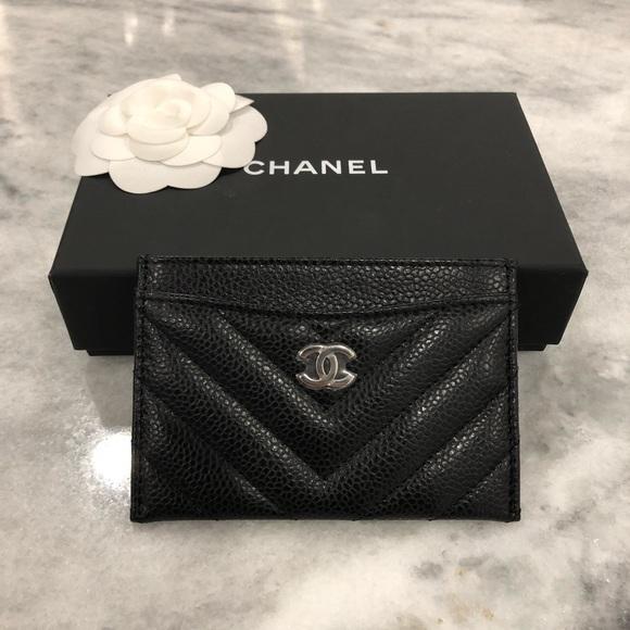 d9e32d48898b CHANEL Bags | Black Caviar Leather Chevron Cardholder | Poshmark